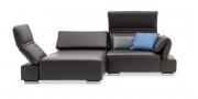 FUTURA mit Armlehne FUGO - 1 Platz Sofa mit Longchair in braunem Leder