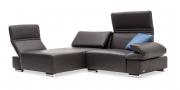 FUTURA mit Armlehne FUGO - 1 Platz Sofa mit Longchair in braunem Leder mit Dekokissen