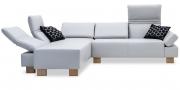 FUTURA mit Armlehne FUGO - 2 Platz Sofa mit Longchair in leder Prescott Wisteria