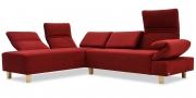 FUTURA mit Armlehne FUGO - 2 Platz Sofa mit Longchair in Mikrofaserstoff Alcantara rot