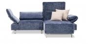 FUTURA mit Armlehne FUGO - 1,5 Platz Sofa mit Longchair in samtigen Stoff Englisch Dekor blau