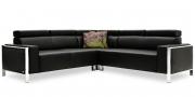 HAMPTON - 2,5 Platz Sofas mit Spitzecke in schwarzem Leder Rustik