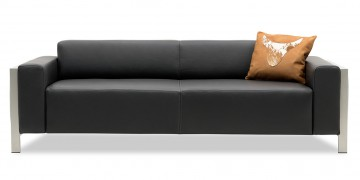HAMPTON - 2,5 Platz Sofa in Leder Club anthrazit mit Dekokissen