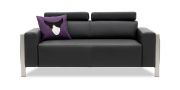 HAMPTON - 2 Platz Sofa in Leder Club anthrazit