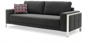 HARLEM - 2,5 Platz Sofa in anthrazitfarbenem Stoff Seitlich mit Dekokissen