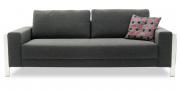 HARLEM - 2,5 Platz Sofa in anthrazitfarbenem Stoff mit Zierkissen
