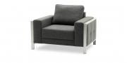 HARLEM - Sessel in anthrazitfarbenem Stoff Seitenansicht
