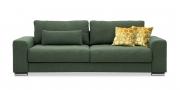 HOME - 3 Platz Sofa in Stoff Art Novel Comara forest grün meliert mit gelben Zierkissen und Lendenkissen