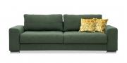 HOME - 3 Platz Sofa in Stoff Art Novel Comara forest grün meliert mit gelben Zierkissen