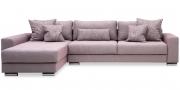 HOME - 3 Platz Sofa mit Longchair in Stoff Roma old rose mit passenden Zierkissen