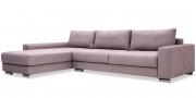HOME - 3 Platz Sofa mit Longchair in Stoff Roma old rose mit losen Sitz- und Rückenkissen