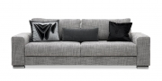HOME - 3 Platz Sofa in Stoff Art Novel Coaxi Coari granite mit Dekokissen