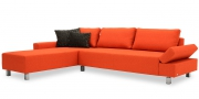 INDIGO - 2,5 Platz Sofa mit Longchair im Stoff Monza orange
