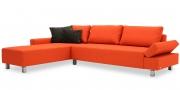 INDIGO - 2,5 Platz Sofa mit Longchair im Stoff Monza orange