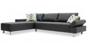 INDIGO - 2,5 Platz Sofa mit Longchair im Stoff Verano grau
