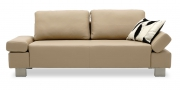 INDIGO - 2 Platz Sofa in Leder Rustik kiesel