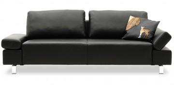 INDIGO - 2,5 Platz Sofa in Leder Rustik schwarz
