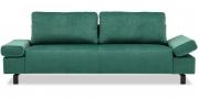 INDIGO - 2,5 Platz Sofa mit klappbarer Armlehne in Velous smaragdgrün