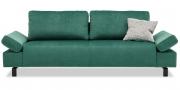 INDIGO - 2,5 Platz Sofa mit klappbarer Armlehne in Velous smaragdgrün mit Kissen