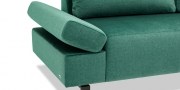 INDIGO - Detailbild Sofa klappbare Armlehne in Stoff Velours smaragdgrün