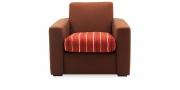 KING CARL III - Loungesessel in braunem Stoff mit rot-gestreiftem Sitzkissen