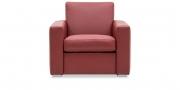 KING CARL III - Lounge Sessel in Leder Rustik kirsche rot