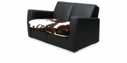 KING CARL II - 2 Platz Sofa in schwarzem Leder in Kombination mit Kuhfell im Sitz