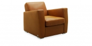KING CARL II - Loungesessel in Leder Silver cognac