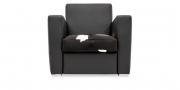 KING CARL II - Loungesessel in schwarzen Leder in Kombination mit Kuhfell Sitzkissen