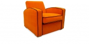KING CARL I - Loungesessel in orangenem Wollstoff mit schwarzem Keder