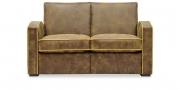 KING CARL I - 2 Platz Sofa in Antikoptik braun mit gelbem Keder