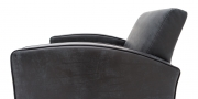 KING CARL I - Detailbild vom Loungesessel in Leder Saddle schwarz