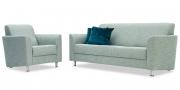 LIBERTY COMO - 3 Platz Sofa mit Sessel im blaugrünen Stoff im Fischgrätmuster