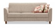 LIBERTY-COMO - 3 Platz Sofa in Stoff S&V Q2 beige meliert mit Zierkissen im floralem Muster