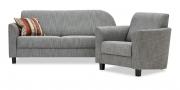 LIBERTY-COMO - 2 Platz Sofa mit Rondo und Sessel in Stoff S&V Magic Style grau meliert