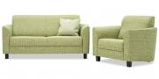 LIBERTY-COMO - Couchgarnitur mit Sessel in Stoff Cover hellgrün meliert
