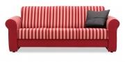 LIBERTY-LOLA - 3 Platz Sofa in einer Stoffkombi von JAB uni rot colorado und Sporty Stripe
