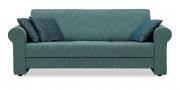 LIBERTY-LOLA - 3 Platz Sofa in Stoff S&V Structure blaugrün meliert mit Dekokissen