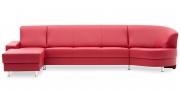 LIBERTY-Ohio - Longchair mit 3 Platz Korpus und Rhombus in rotem Leder