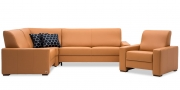LIBERTY-OHIO - Couchgarnitur Ecksofa mit Sessel in Leder Prescott dune