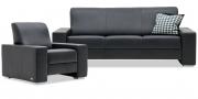 LIBERTY-OHIO - Garnitur aus 3 Platz Sofa und Sessel in Leder Ibiza schwarz