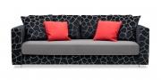 LIVING - Sofa ohne Knöpfe im Stoff S+V Beletage schwarz, Korpus und Kissen im Stoff Like Suede grau im Sitz