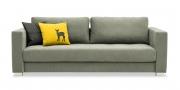 LIVING - 3 Platz Sofa im grauem Microfaserstoff und passenden Zierkissen