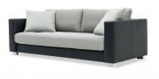 LIVING - 3 Platz Sofa in dunkelblauem Leder, Sitz und Kissen in grauem Stoff
