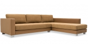LIVING - Ecksofa im Leder Eldorado Premium, Sitz und Kissen in Alcantara Taupe