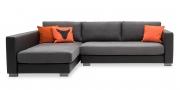 LIVING - Ecksofa ohne Knöpfe im schwarzen Kunstleder, Sitz und Kissen in grauem Stoff