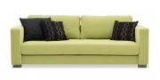 LIVING - 3 Platz Sofa in hellgrünem Stoff von S + V mit schwarzen Zierkissen