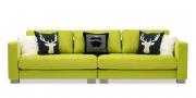 LIVING - 3 Platz Sofa in Stoff Höpke Royal neongrün mit Dekokissen