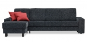LIBERTY-OHIO - 3 Platz Sofa mit Longchair in Stoff Joka Piombino schwarz