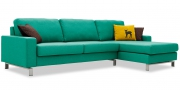 MENTA - 2,5 Platz Sofa mit Longchair in türkisem Stoff